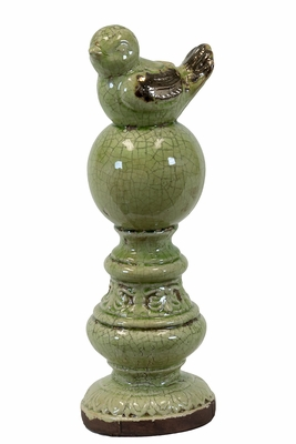 Sweet & Adorable Ceramic Bird on Pedestal w/ Antique Finish in Green