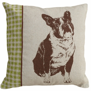 "Sweet Screen Print Pillow Boston Terrier 18x18"" by 123 Creations"