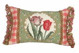 Sweet Tulip - Green Border Petit-Point Pillow by 123 Creations