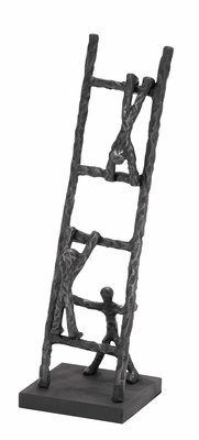 Table Decor Sculpture That Depicts A Ladder With Three Men Brand Woodland