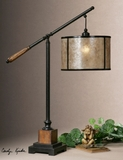 Table Lamp - Adjustable Table Top Lamp With Aged Mahogany Brand Uttermost