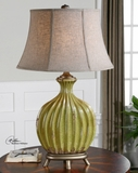 Table Lamp - Antique Table Top Lamp With Aged Green Ceramic Brand Uttermost