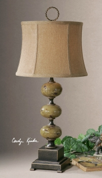 Table Lamp - Charming Table Top With Porcelain Stacked Spheres Brand Uttermost