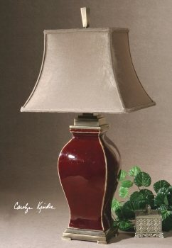 Table Lamp - Refined Table Top Lamp With Burgundy Ceramic Brand Uttermost