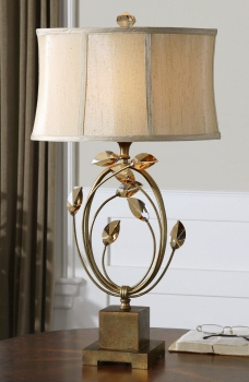 Table Lamp - Sophisticated Table Top With Golden Crystal Leaves Brand Uttermost