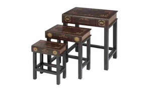 Table Set/3 with King Henry Faux Books Drawers, Faux Book Case Brand Woodland