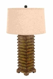 Table Top Lamp In Hand Carved Wood With Natural Ridges Brand Woodland