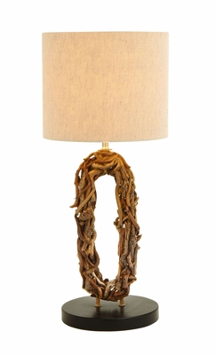 Table Top Lamp With Bundled Driftwood Wreath For a Natural Look Brand Woodland