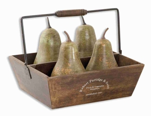 Table Top Pears In Basket Decor With Distressed Copper Brand Uttermost