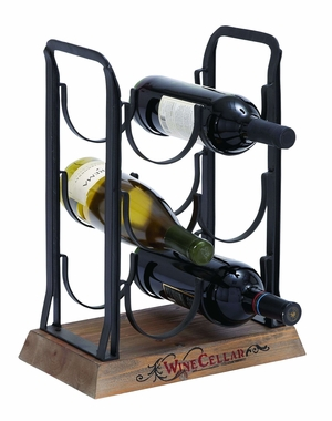 Table Top Wine Rack Stand With 6 Horizontal Slots Brand Woodland
