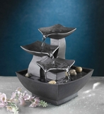 Tabletop Leaves Water Fountain with 5 Metre Cord in Dark Finish Brand Zest