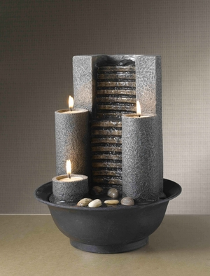 Tabletop Water Fountain with Built in Removable Candles Brand Zest