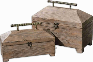 Tadao Natural Wood Box Set With Antiqued Metal Accents Brand Uttermost