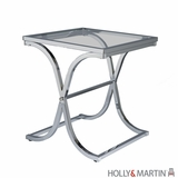 Taiwan Roxburgh Stylish Metallic Glass Top End Table by Southern Enterprises