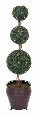 Tall Decorative Triple Boxwood Tree with Stand in Plastic Brand Woodland