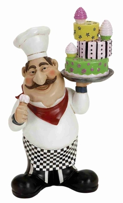 Tall French Chef Holding Cake and Cone Crafted in Cold Resin Brand Woodland