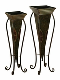 Tall Metal Planter Stand with Queen Ann Legs - Set of 2 Brand Woodland