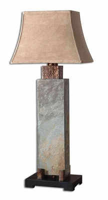 Tall Slate Table Lamp Craved with Copper Detailing Brand Uttermost
