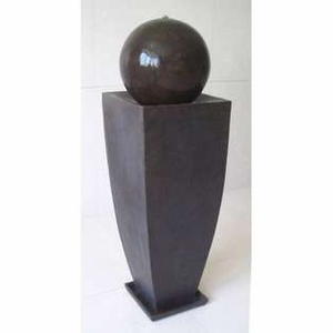 Tall Square Vase Ball Fountain Crafted with Coppery Finish Brand Screen Gem