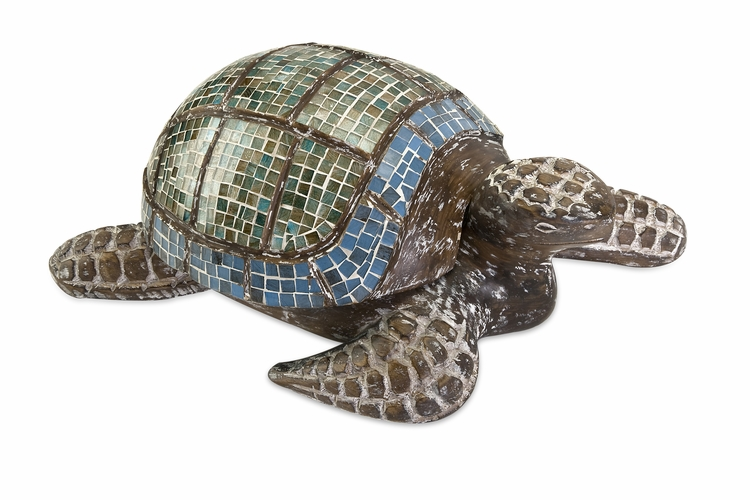 Imax  Talulah Carved Wood Mosaic Turtle At Wildorchidquilts Net