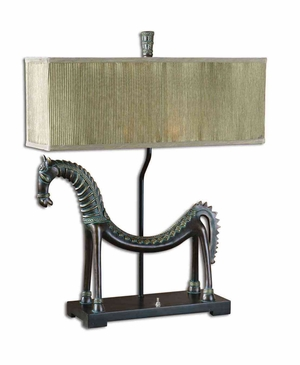 Tamil Horse Table Lamp with Leaf Detailing in Gold Brand Uttermost
