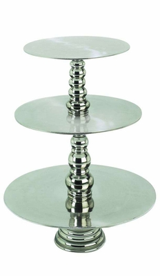23 Inches High Aluminum 3/Tier Cake Stand - 30377 by Benzara