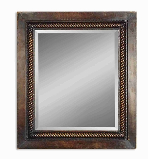 Tanika Mirror with Rich Mahogany Hand Forged Rope Design Brand Uttermost