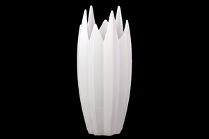 Tanzania's Well Carved Unique Ceramic Vase White by Urban Trends Collection