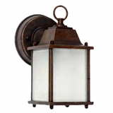 Tara Collection Attractive Brown 1 Light Exterior Light Wall Mount with Frosted Glass by Yosemite Home Decor