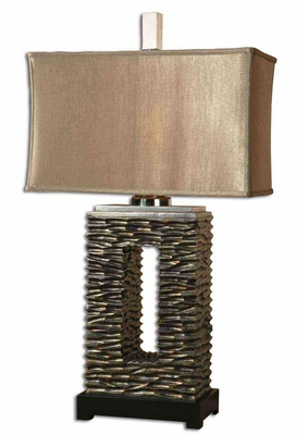 Tarin Aged Bronze Table Lamp with Foot in Black Brand Uttermost
