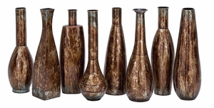 Tarnish Brown Metal Vases 8 Assorted , Complete Home Decor Brand Woodland
