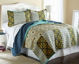 Taurus Full/Queen Size Three Piece Reversible Quilt Set (100% Cotton)