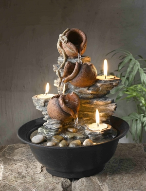 Tavolo Luci Mini Pot Tabletop Fountain with Tealight Candles Brand Zest