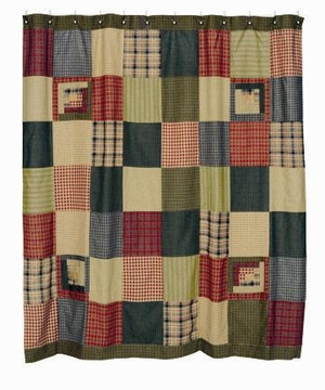 "Tea Cabin Cotton Shower Curtain 72""X72"" Brand VHC"