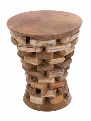 Teak Wooden Round Shaped Accent Table in Natural Rich Textures Brand Woodland