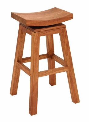 Teakwood Bar Stool in Brown Finish with Revolving Seat Brand Woodland