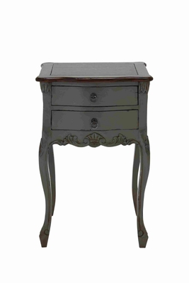 Teana Wooden Table in Dark Grey and Brown with Two Drawers Brand Woodland