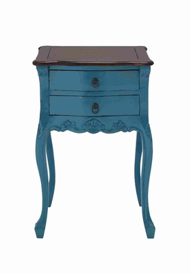 Teana Wooden Table in Sky blue with Two Drawers and a Brown Top Brand Woodland
