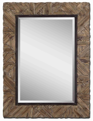 Tehama Light Wall Mirror with Burnished Walnut Stained Wood Brand Uttermost
