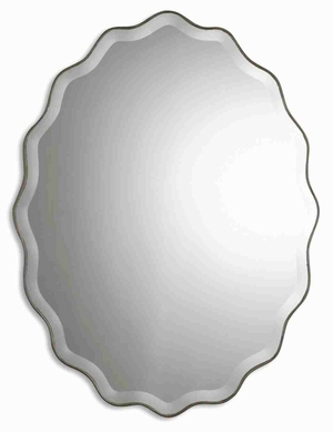 Teodora Modern Mirror with Ruffled Antique Silver Edge Brand Uttermost