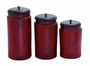 Tera Cotta Jar with Simple Design in Rusty Red Finish - Set of 3 Brand Woodland