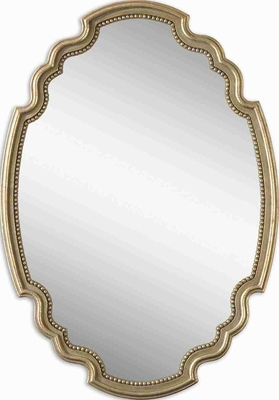 Terelle Oval Mirror with Delicate Beading and Gold Rottenstone Glaze Brand Uttermost