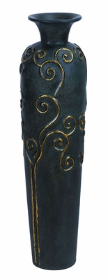 "Terra Cotta Flower Vase in Black Finish 38"" Height Brand Woodland"