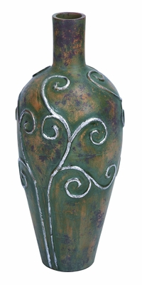 "Terra Cotta Vase with Green Rust Finish 31"" Height Brand Woodland"