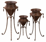 Terrace Metal Planters with Stands in Rustic Brown - Set of 3 Brand Woodland