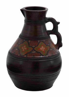 "Terracotta 14"" Pitcher Container in Brown with Glossy Finish Brand Woodland"