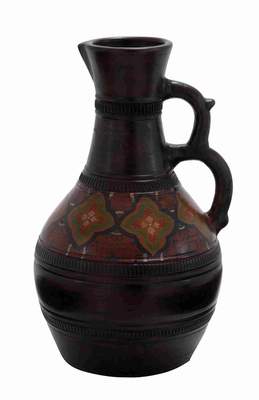 """Terracotta 18"""" Round Shaped Pitcher in Brown Glossy Finish Brand Woodland"""