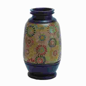 Terracotta Pot with Multicolored Patterns and Loral Motifs Brand Woodland