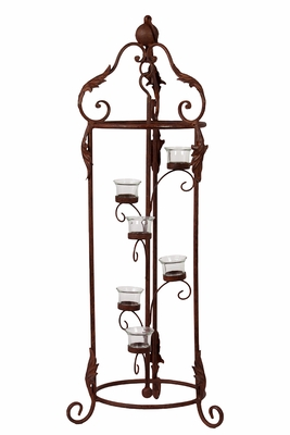 Terrific & Magnificent Six Metal Candle Holder w/ Stand in Rustic Brown