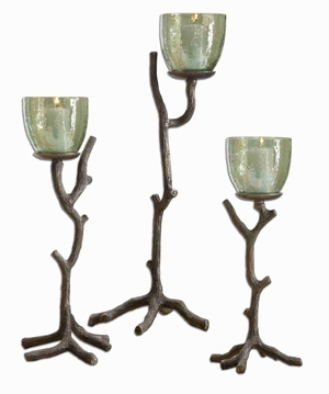 Textured Aluminum Candle Holder Set With Translucent Green Glass Brand Uttermost